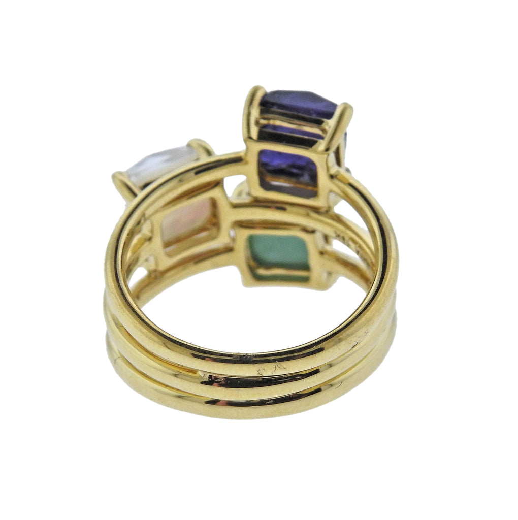 thumbnail image of Ippolita Rock Candy Turquoise Iolite Mother of Pearl 18k Gold Ring