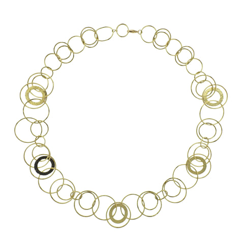 image of Ippolita Hammered Jet Set Link 18k Gold Necklace
