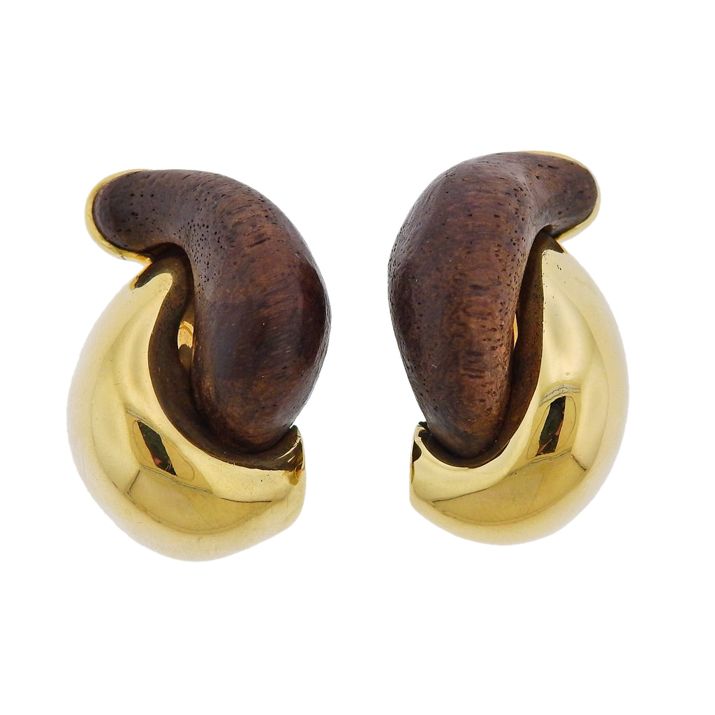 thumbnail image of Seaman Schepps Rosewood Gold Half Link Earrings
