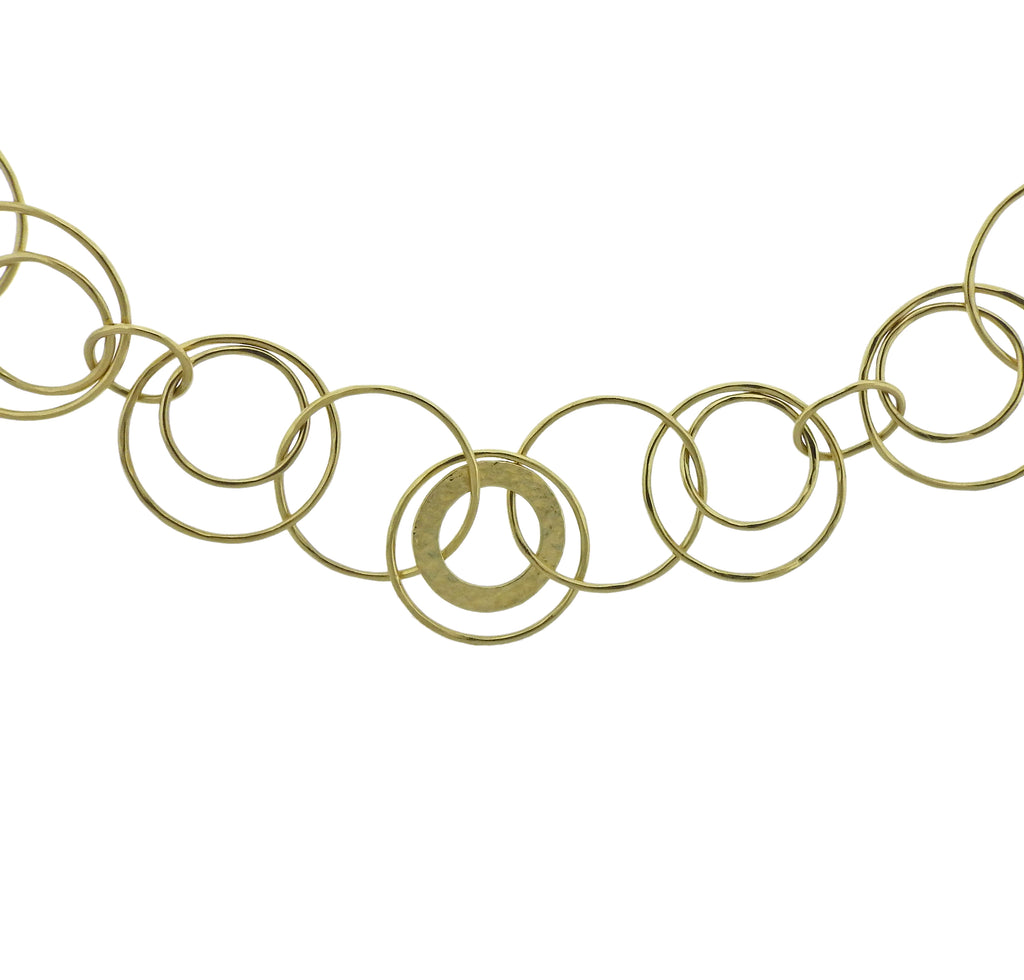 thumbnail image of Ippolita Hammered Jet Set Link 18k Gold Necklace