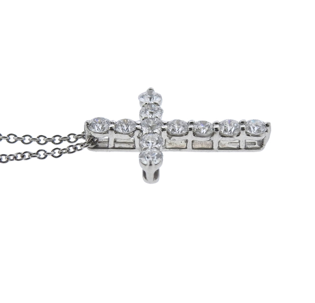 thumbnail image of Tiffany & Co Diamond Platinum Cross Pendant Necklace