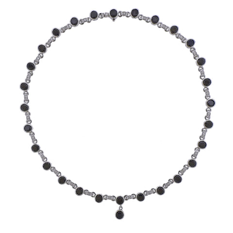 image of Roberto Coin Black and White Diamond Pendant Necklace