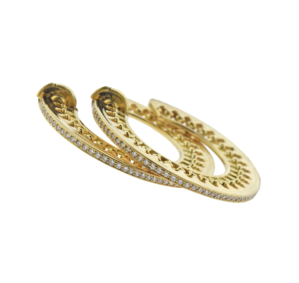 thumbnail image of Tiffany & Co Picasso Venezia Stella 18K Gold Diamond Hoop Earrings