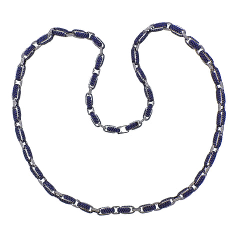 image of Roberto Coin Fantasia Sapphire Diamond Long Link Necklace