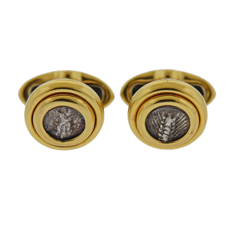 image of Bulgari Monete 18k Gold Ancient Coin Cufflinks