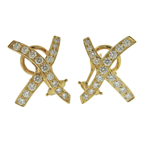 image of Tiffany & Co Paloma Picasso Diamond Gold X Earrings