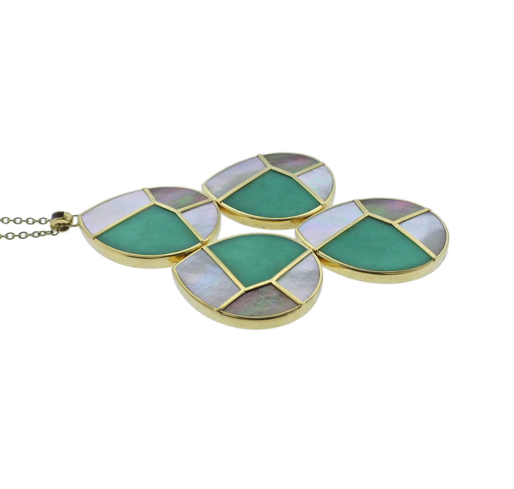 thumbnail image of Ippolita Mosaic Mother of Pearl Chrysoprase 18k Gold Pendant Necklace