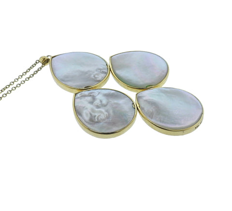 image of Ippolita Mosaic Mother of Pearl Chrysoprase 18k Gold Pendant Necklace