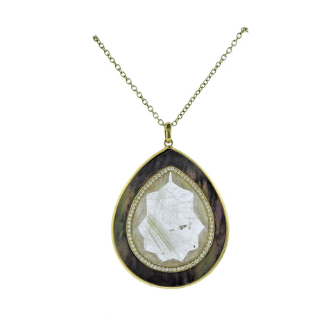 image of Ippolita Ondine Teardrop Rutilated Quartz Diamond 18k Gold Necklace