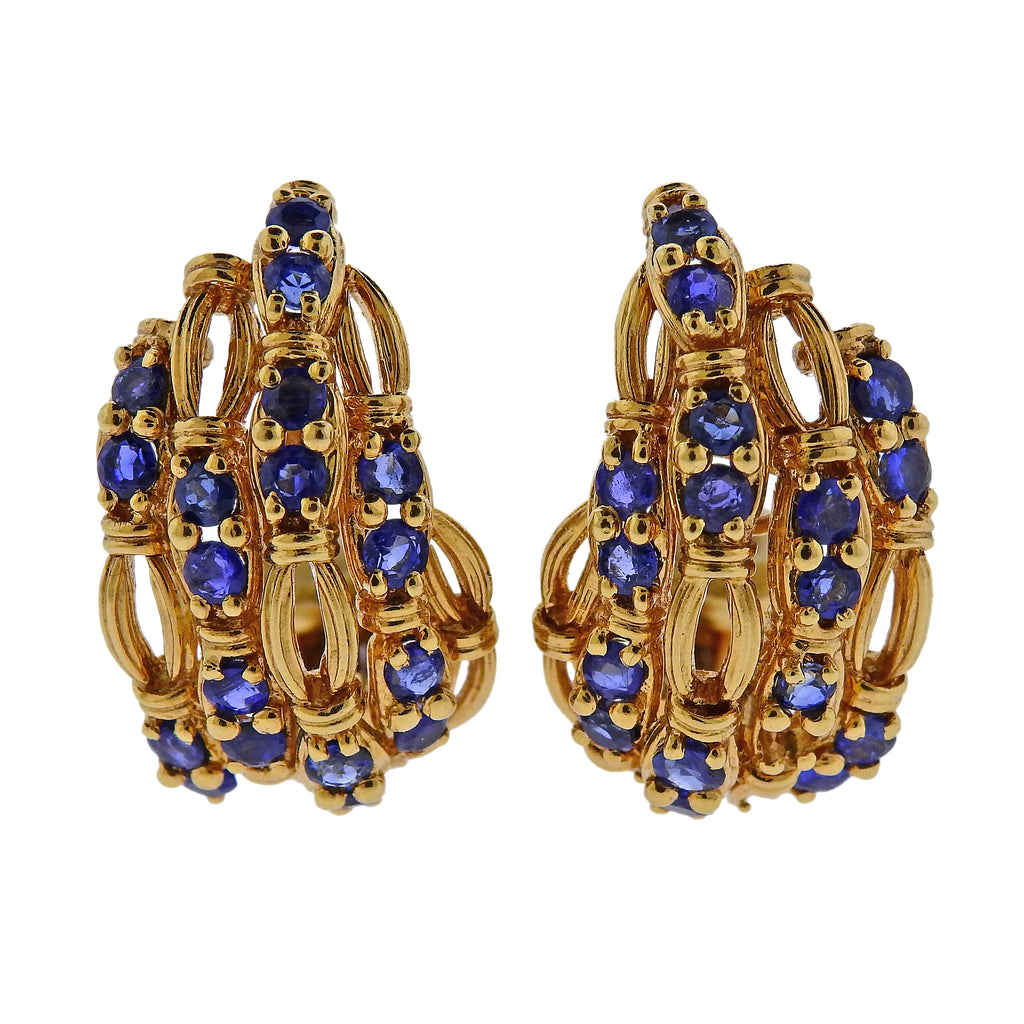 thumbnail image of Tiffany & Co Sapphire Gold Earrings