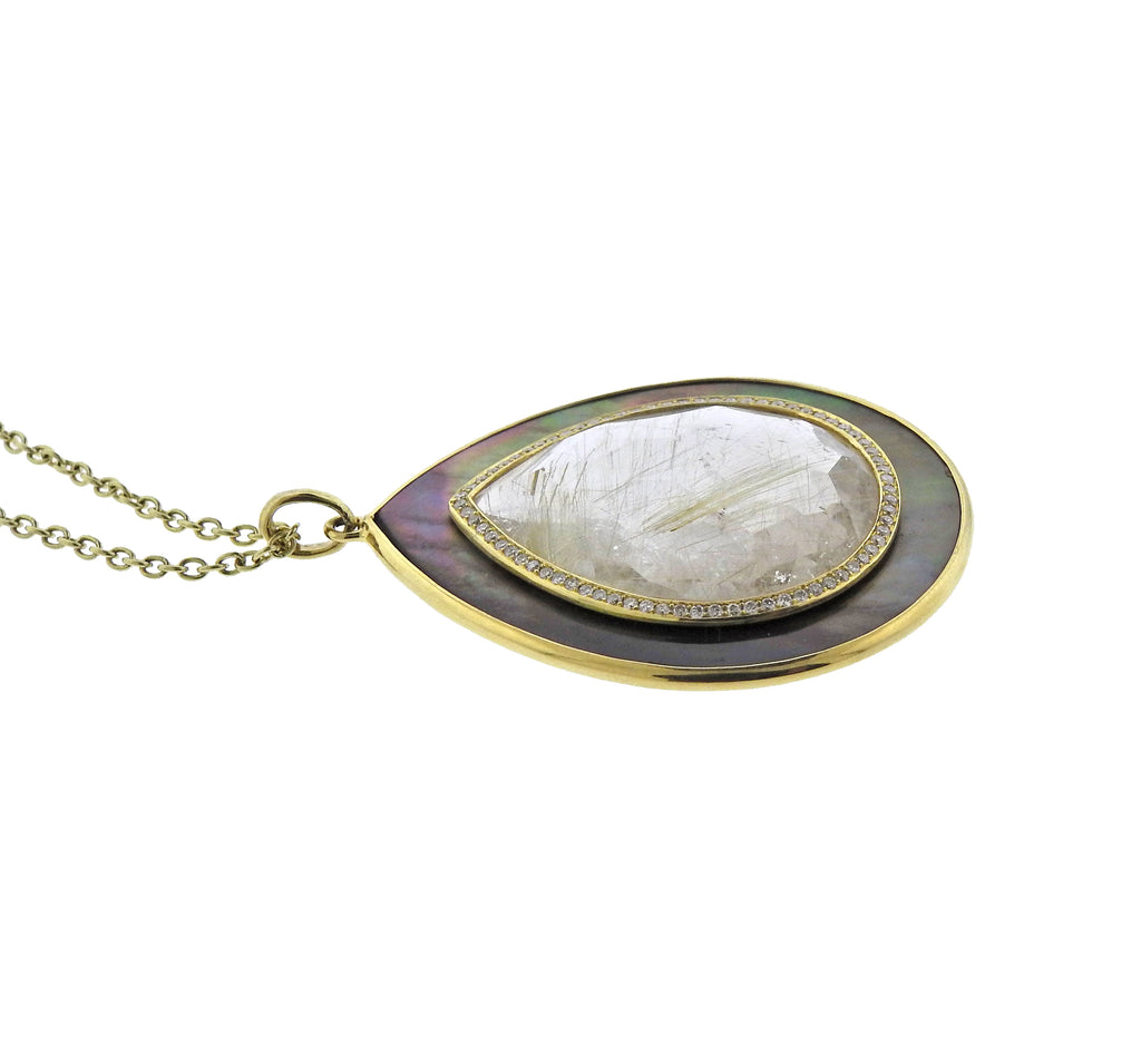 thumbnail image of Ippolita Ondine Teardrop Rutilated Quartz Diamond 18k Gold Necklace
