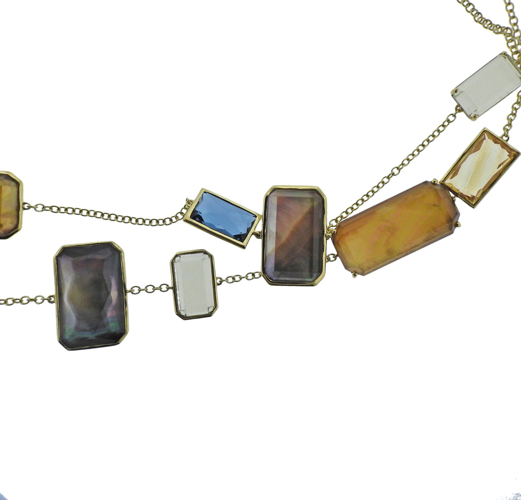 thumbnail image of Ippolita Rock Candy Gemstone Beverly 18k Gold Station Necklace