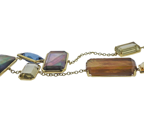 image of Ippolita Rock Candy Gemstone Beverly 18k Gold Station Necklace