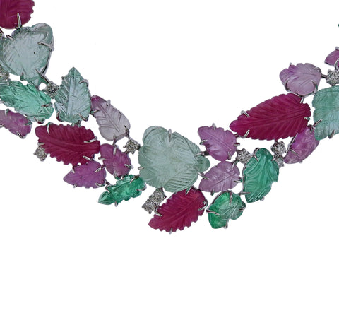 image of Roberto Coin Carved Ruby Emerald Diamond Gold Necklace