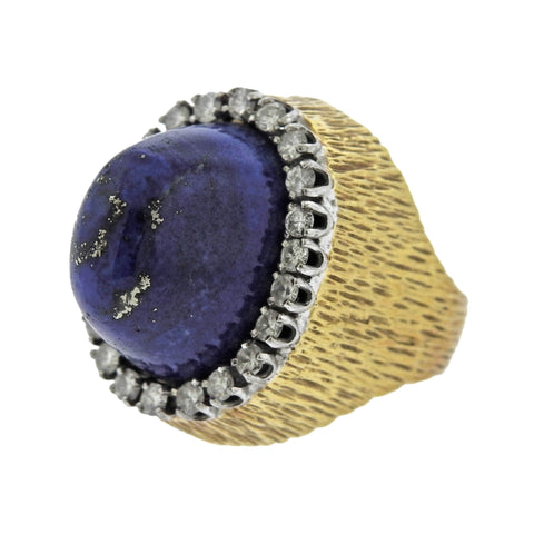 image of 1960s Lapis Diamond Gold Cocktail Ring