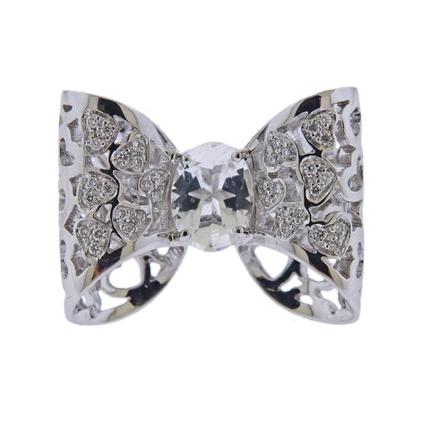 image of Pasquale Bruni Oh La La Gold Diamond Crystal Bow Ring