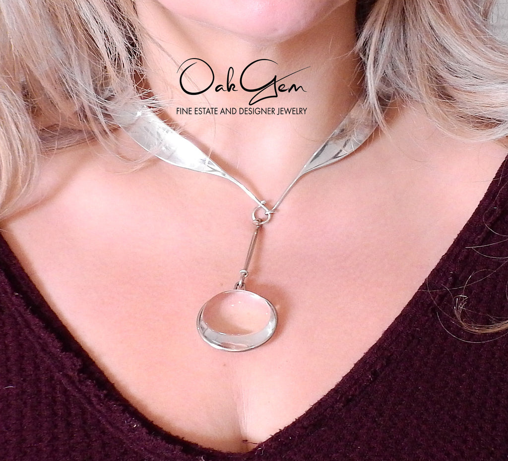 thumbnail image of Georg Jensen Torun Silver Necklace No. 160 with Crystal Pendant No. 311C