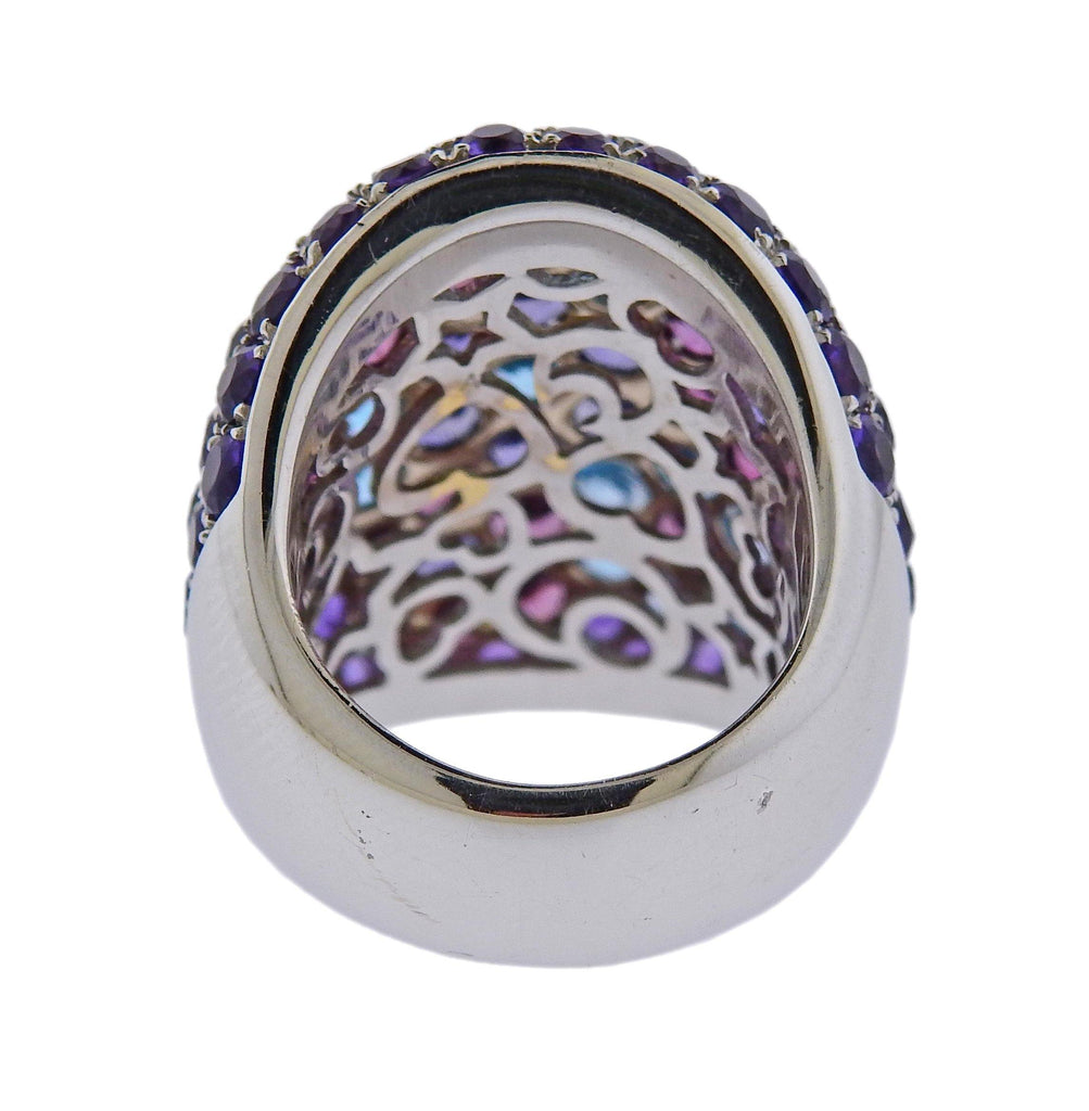 thumbnail image of Pasquale Bruni Amethyst Tourmaline Topaz Gold Flower Cocktail Ring
