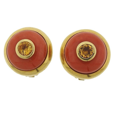 Carimati Coral Citrine Gold Earrings