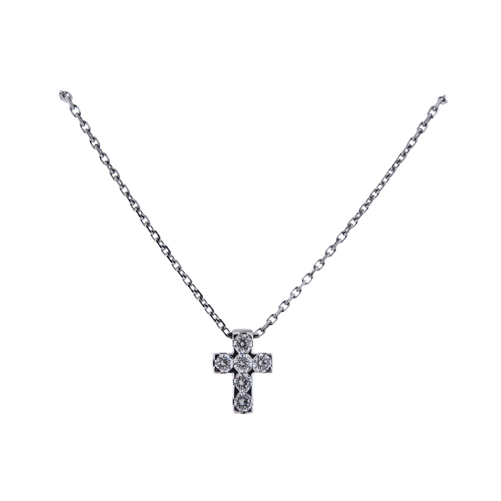 thumbnail image of Van Cleef & Arpels Diamond White Gold Cross Pendant Necklace