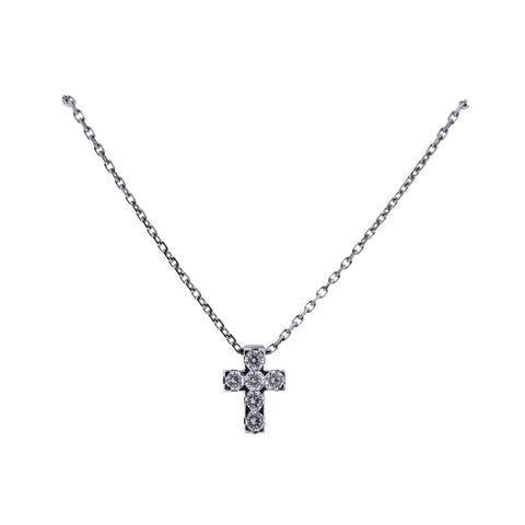 image of Van Cleef & Arpels Diamond White Gold Cross Pendant Necklace