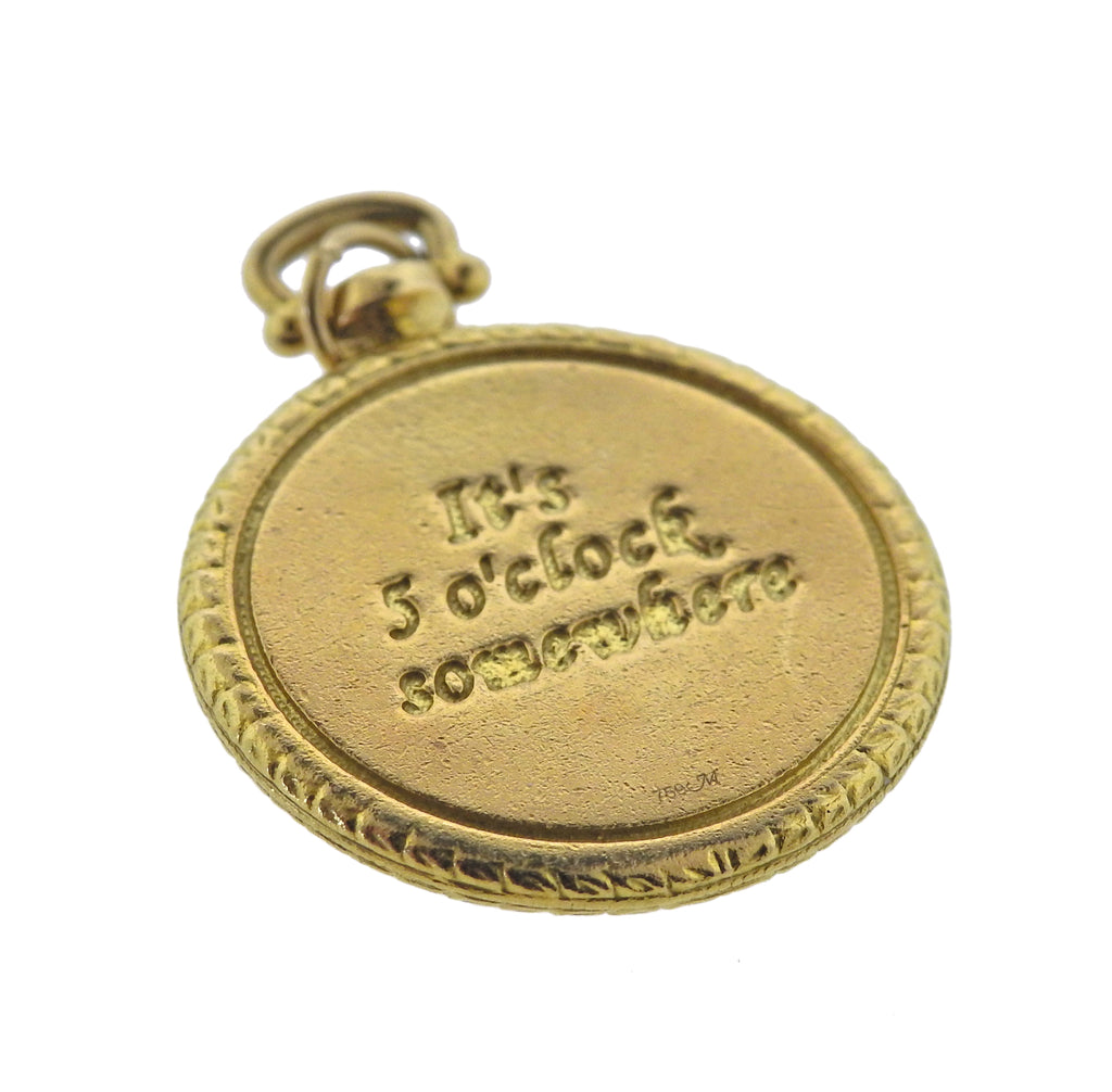 thumbnail image of Monica Rich Kosann It's Five O'Clock Somewhere Diamond Gold Pendant Charm