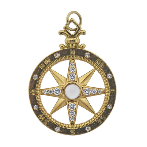 image of Monica Rich Kosann Travel Compass Diamond Moonstone Gold Charm Pendant