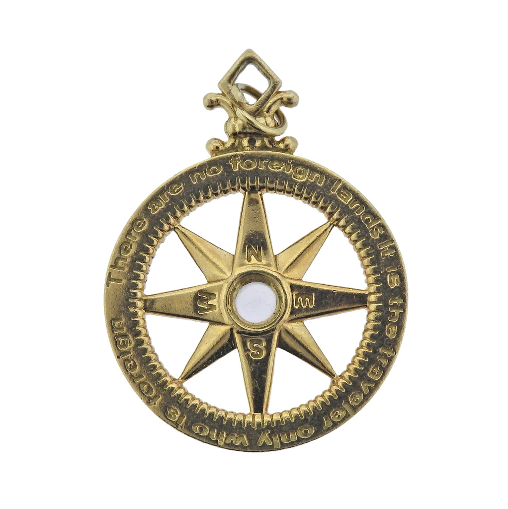 thumbnail image of Monica Rich Kosann Travel Compass Diamond Moonstone Gold Charm Pendant