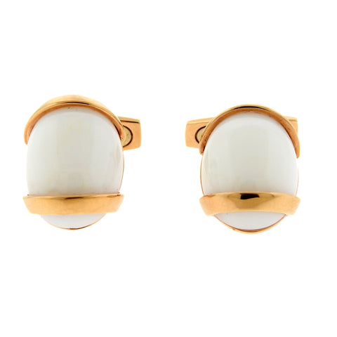Favero 18k Gold White Stone Cufflinks