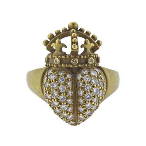 image of Kieselstein Cord Crown Heart Diamond Gold Ring