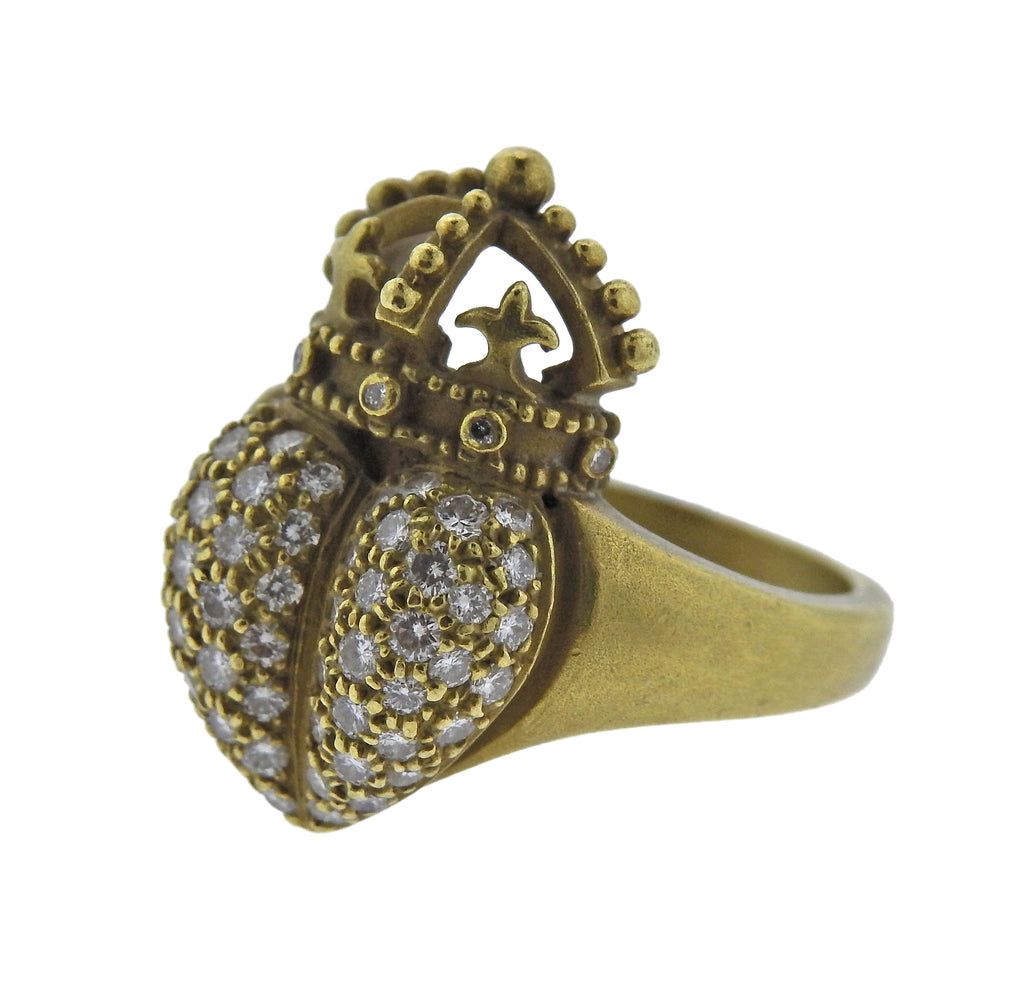thumbnail image of Kieselstein Cord Crown Heart Diamond Gold Ring