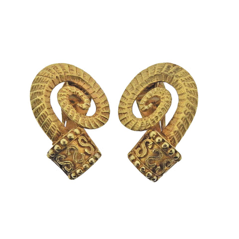 image of Lalaounis Greece Gold Earrings