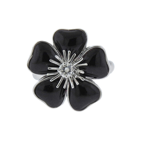 image of Van Cleef & Arpels Nerval Diamond Onyx Gold Flower Ring