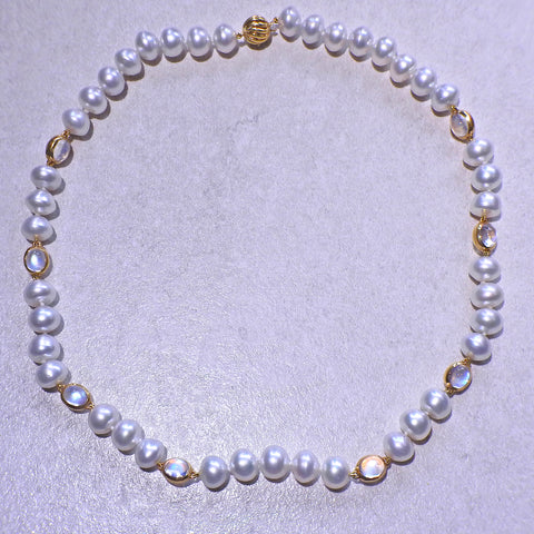 image of Assael Pearl Moonstone Gold Necklace