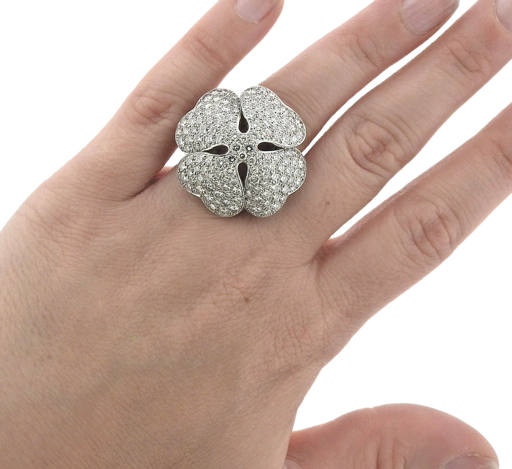 thumbnail image of Cartier Anniversary Edition 10 Carat Diamond Gold Clover Ring