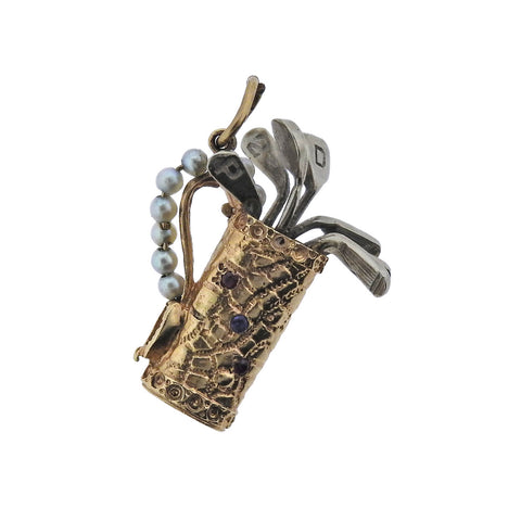 image of Mid Century Pearl Ruby Sapphire Gold Golf Bag Charm