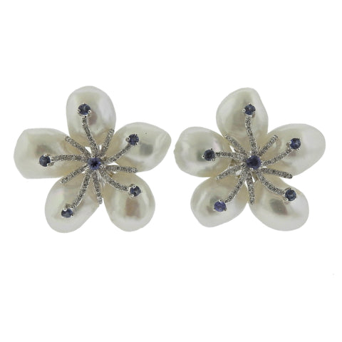 image of Diamond Pearl Sapphire Gold Flower Earrings