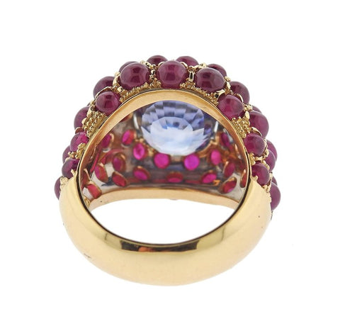 image of Verdura Sapphire Ruby Gold Ring
