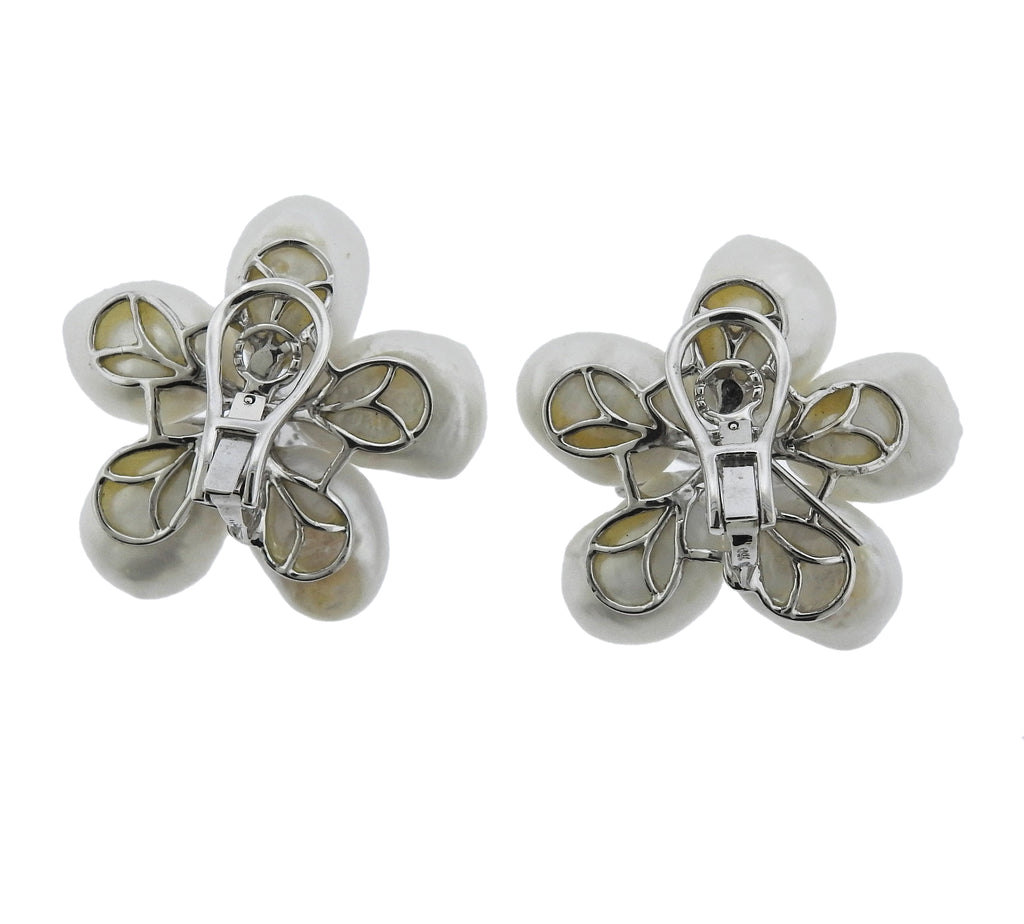 thumbnail image of Diamond Pearl Sapphire Gold Flower Earrings