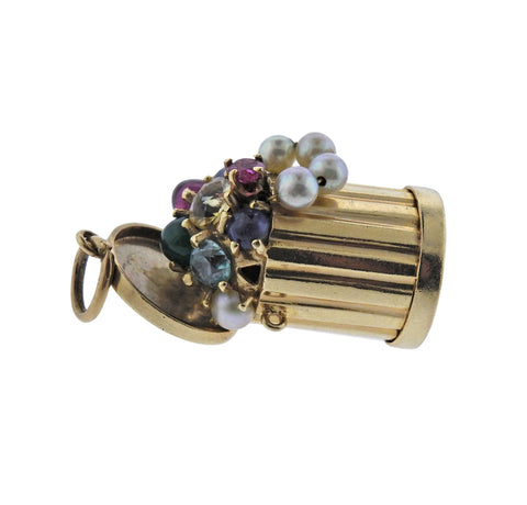 image of Mid Century Pearl Ruby Sapphire Emerald Gold Trash Can Charm
