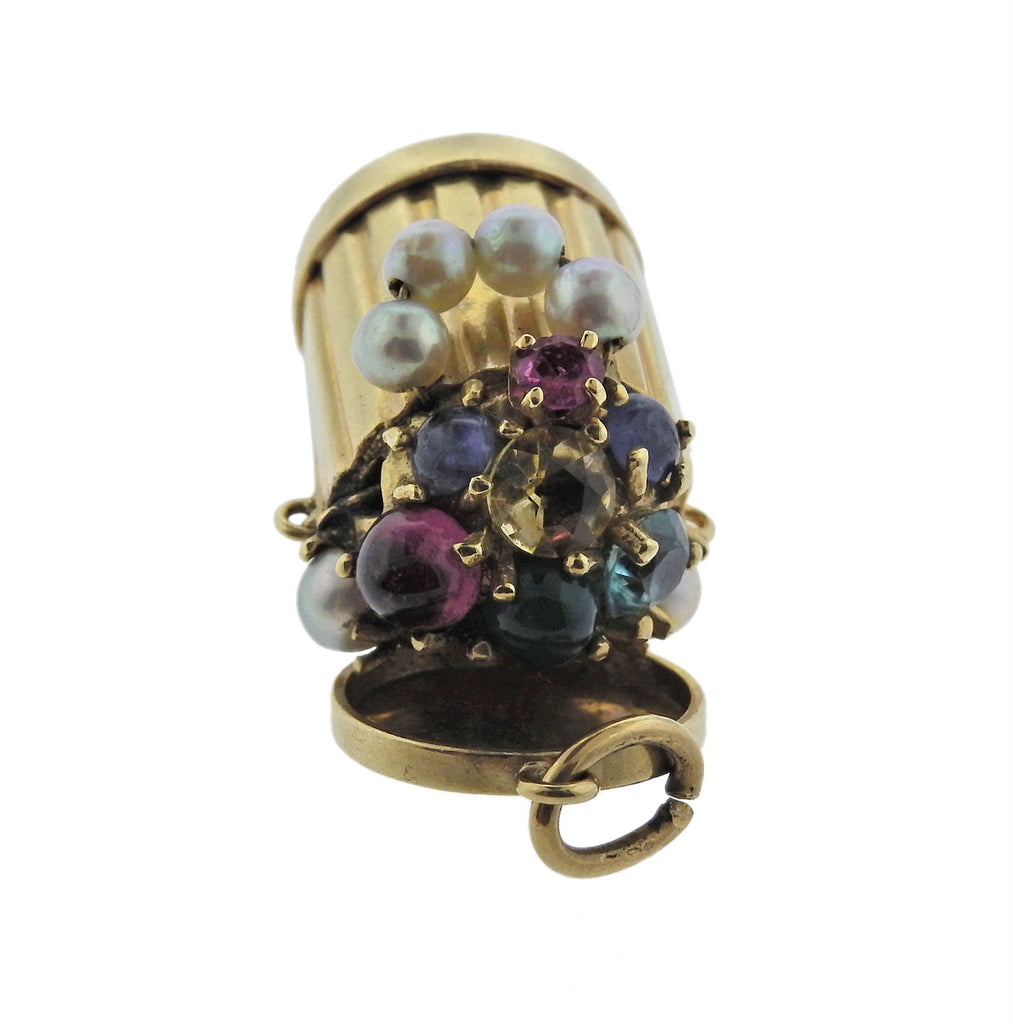 thumbnail image of Mid Century Pearl Ruby Sapphire Emerald Gold Trash Can Charm