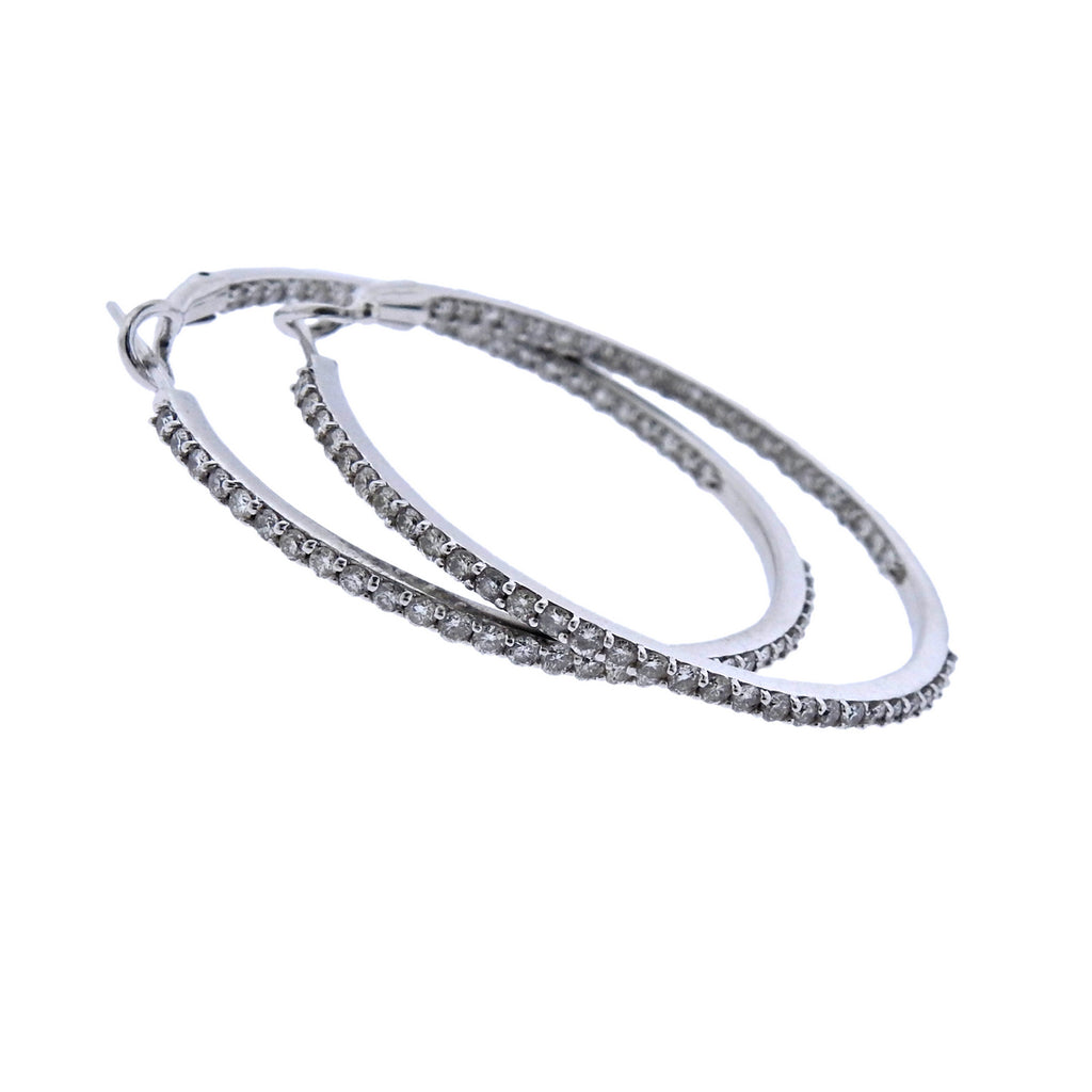 thumbnail image of Inside Out Diamond Gold Hoop Earrings