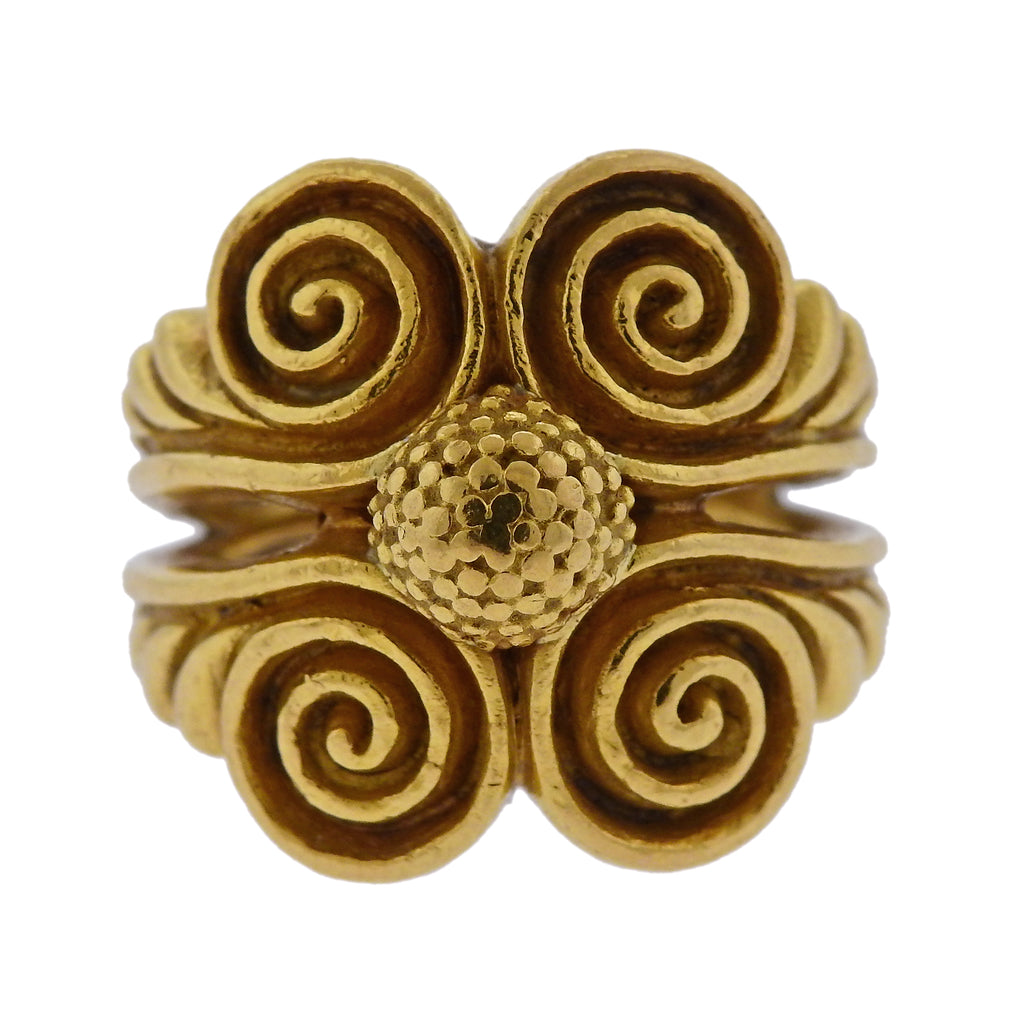 thumbnail image of Zolotas Greece 22k Gold Swirl Ring