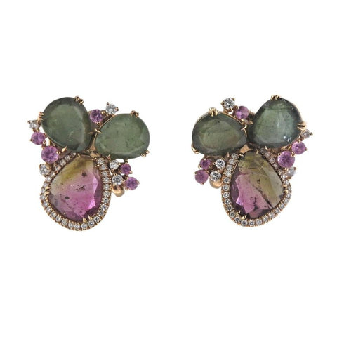 image of Tourmaline Diamond Gold Earrings