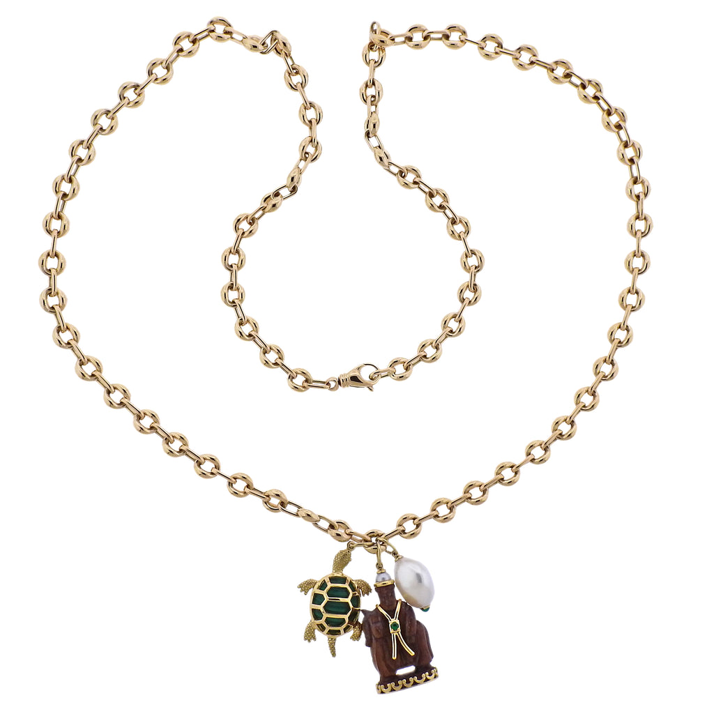thumbnail image of Seaman Schepps Wood Malachite Turtle Pearl Gold Link Necklace