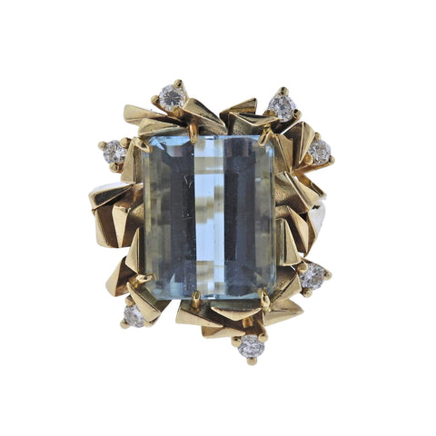 image of Mid Century Aquamarine Diamond Gold Ring
