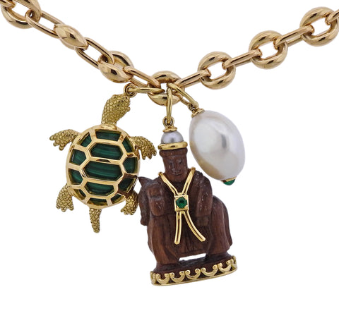 image of Seaman Schepps Wood Malachite Turtle Pearl Gold Link Necklace