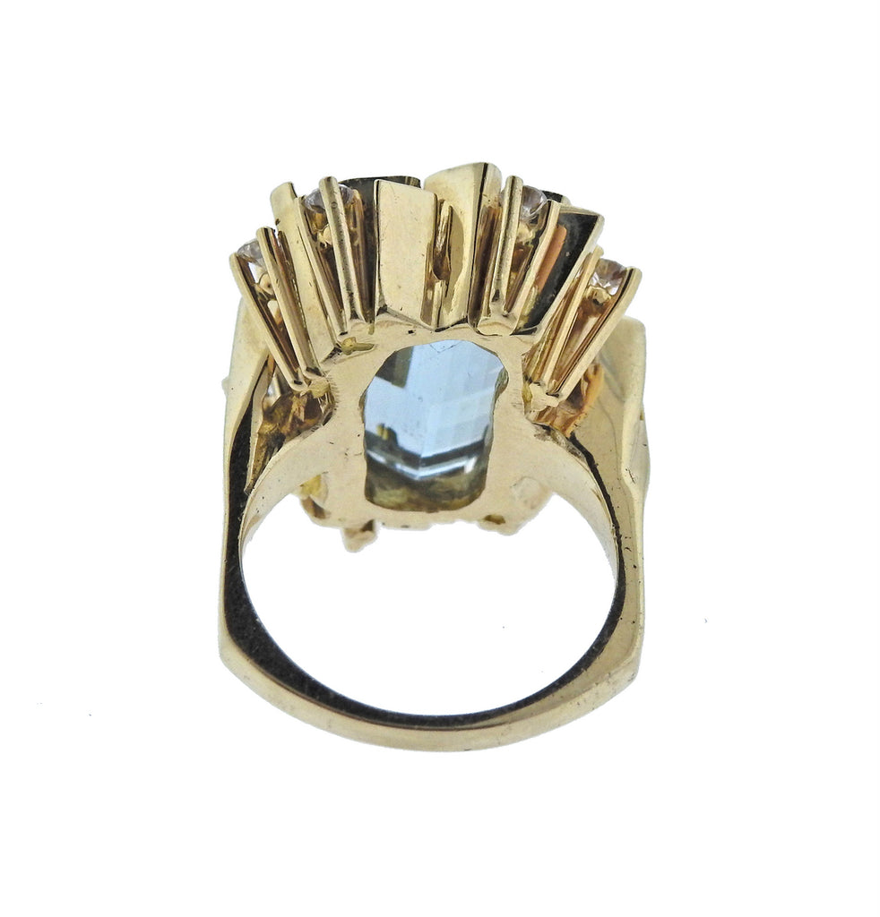 thumbnail image of Mid Century Aquamarine Diamond Gold Ring