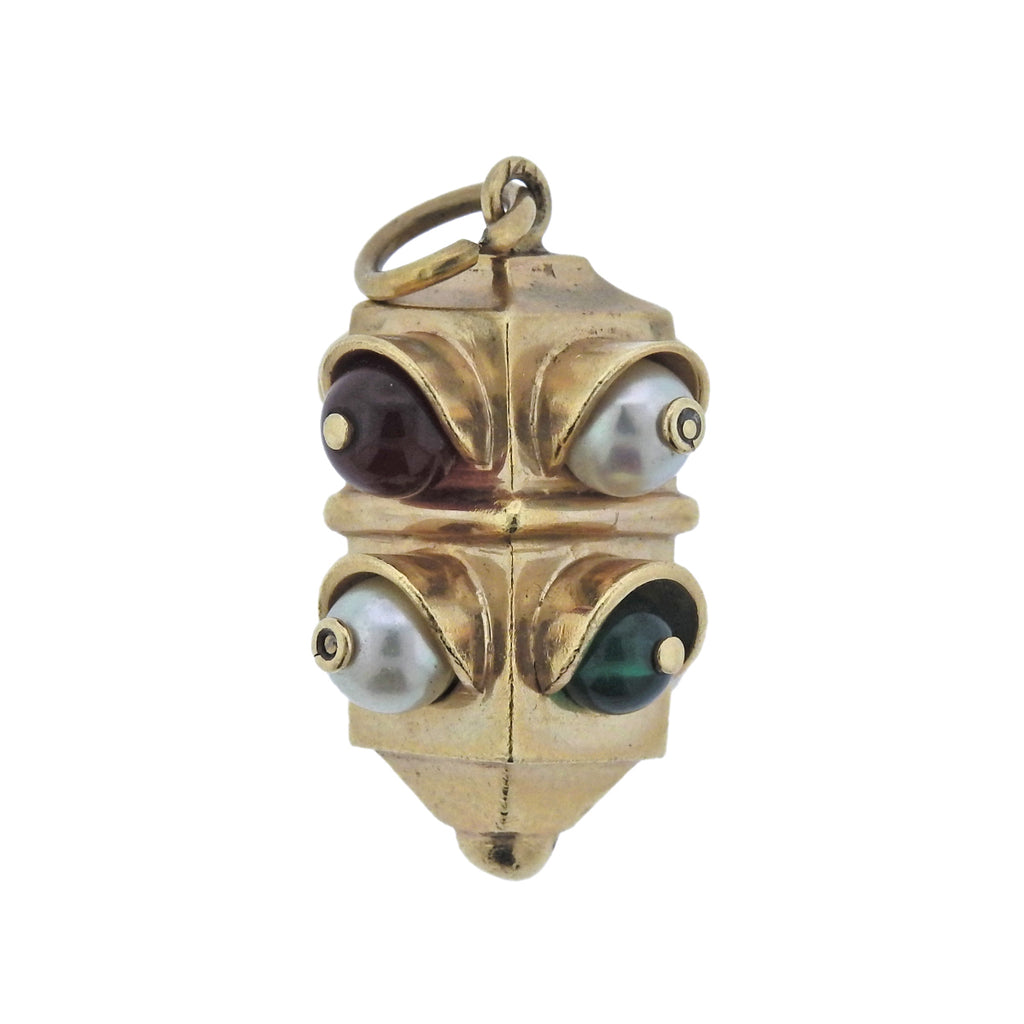 thumbnail image of Mid Century Pearl Gemstone Gold Traffic Light Charm