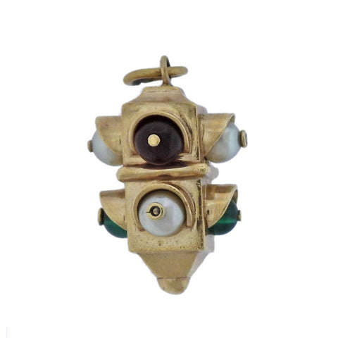 image of Mid Century Pearl Gemstone Gold Traffic Light Charm